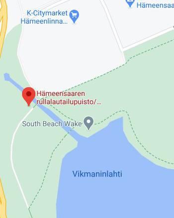 Kuvassa on hämeensaaren skeittiparkki kartalla