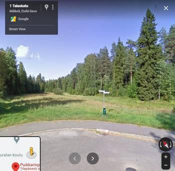Googlen karttanäkymä Talaskadun ja Nuottakadun risteyksessä