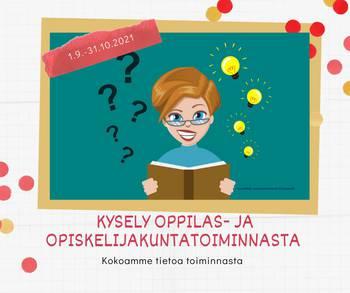 Henkilö selaa kirja ja hänen ympärillään on kysymysmerkkejä ja lamppuja.